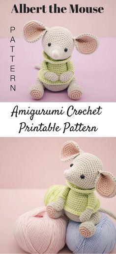 Albert the Mouse amigurumi crochet pattern. #ad #amigurumis #amigurumidoll #amigurumilove #amigurumitoy #amigurumipattern #crochet #crochetaddict #crochetlove #crochetpattern #printable #instantdownload