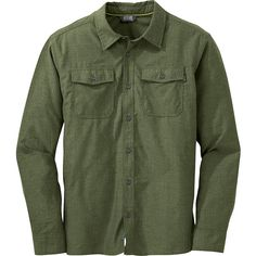 Outdoor Research Gastown L/S Shirt ($64) ❤ liked on Polyvore featuring men's fashion, men's clothing, men's shirts, men's casual shirts, green, mens moisture wicking shirts, mens green shirt and mens wicking shirts