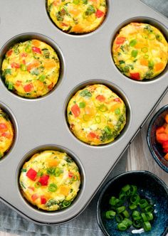 overhead photo of omelet muffins in a muffin panYou can find Egg muffins and more on our website.overhead photo of omelet muffins in a muffin pan Breakfast Dishes, Healthy Breakfast Recipes, Brunch Recipes, Vegetarian Recipes, Cooking Recipes, Healthy Recipes, Egg Cupcakes Breakfast, Breakfast Dessert, Breakfast In Muffin Tins