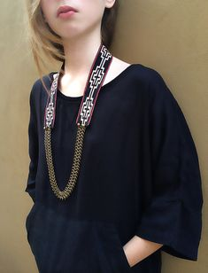 Ethnic Textile Necklace with Brass Chain, Statement Necklace, Bohemian Necklace, Folk Tribal Necklace, Bold Boho Jewelry, Textile Jewelry