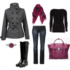 """grey, black, and cranberry"" by kkm2012 on Polyvore"