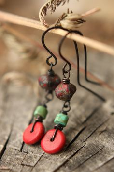 Turquoise & Red Beaded Dangle Earrings by Sparrowtaledesign