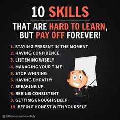10 skills that are hard to learn, but pay off forever! Self Development, Personal Development, Life Skills, Life Lessons, Guter Rat, Self Improvement Tips, Business Motivation, Emotional Intelligence, Self Help