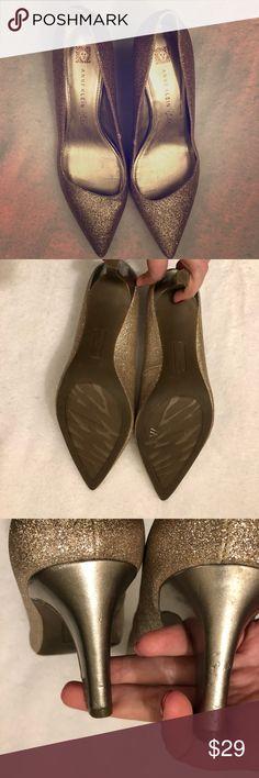 fda925d84a29 Anne Klein iFlex Gold Glitter Heels