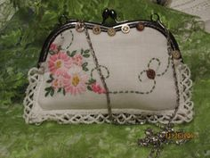 Vintage Easter Clutch, White Bride purse, Embroidered Doily Purse, kisslock, Silver Metal Clasp Purse, handmade on Etsy, $39.00