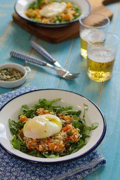 Cinco Quartos de Laranja: Salada de abóbora assada com arroz integral e ovos escalfados