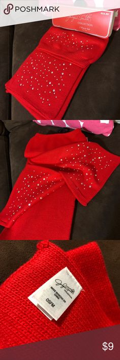 """NWT Jaclyn Smith Scarf and Beret Set This red 2 piece set has never been worn. Both the beret and scarf have """"bling"""" along the bottom (it's not glitter-it won't rub off). Smoke free home. OFFERS WELCOME. Jaclyn Smith Collection. Jaclyn Smith Accessories Scarves & Wraps"""