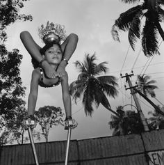 Mary Ellen Mark, Pinky practicing, Great Royal Circus, Cochin, India, 1992