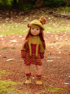 OOAK Hand-Knit Fall Dress Set for Gotz Happy Kidz dolls by Debonair Designs #DebonairDesigns