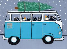 Turquoise VW Bus Christmas Cats Original Folk by KilkennycatArt Illustration Art, Illustrations, Christmas Car, Christmas Drawing, Cat Cards, Cat Drawing, Crazy Cats, Cool Cats, Cats And Kittens