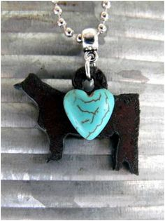 Celebrate your love for the stock show life with this Rustic Show Cattle Heifer Necklace!