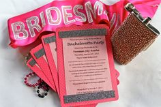 Pink Bachelorette Party Invitations by MaddyHandMade on Etsy.  Enter coupon code PINTEREST at check out to receive $5 off your purchase! Expires 7/31!