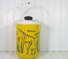Yellow & Black Enamel Over Metal Ice Bucket  by DivineOrders, $21.00