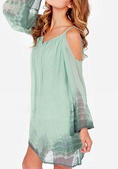Green Cut Out Condole Belt Ruffle Print Strapless Chiffon Dress - Dresses