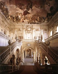 Giovanni Battista Tiepolo  Wuerzburg, Germany--a tourist site, again not made like this in the US--art critic Lord Clark (Kenneth Clark) said that the natural good sense of a fox-hunting society prevented the higher flights of the rococo in the UK--they had Chippendale George III English rococo however. Flamboyant Baroque gets confused with rococo sometimes