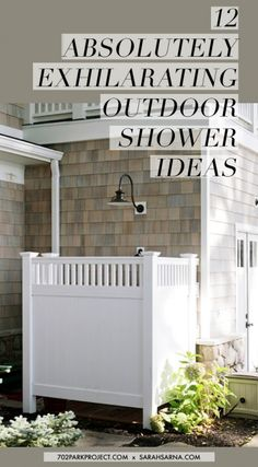 12 Absolutely Exhilarating Outdoor Shower Ideas - so pretty outside this classic cedar shingle house. Outdoor Pool Shower, Outdoor Shower Enclosure, Outdoor Baths, Outdoor Bathrooms, Outdoor Spaces, Outdoor Living, Outdoor Decor, Casas Country, Outside Showers