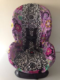 Items Similar To Toddler And Infant Convertible Car Seat Cover Fits Cosco Scenera Very Similair Free Monogram Black White DAMASK PURPLE FLORAL On