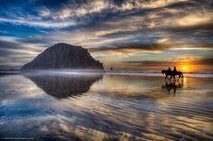 Horses walk on water in Morro Bay! )