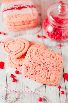 Cinnamon Red Hots Candy Shortbread - Bakingdom - super cute I Love You cookie cutter!  | Valentine's Day Recipes, ideas, food, treats, desserts