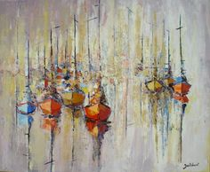 Coques et mâts - Painting,  50x60x50 cm ©2012 par Francis Jalibert -  Peinture, Huile