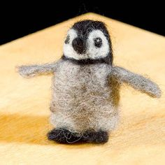 WoolPets Penguin needlefelting kit. Learn the art of sculptural needle felting! Kit includes felting needles, wool roving, and step by step photo instructions that make this craft a snap. Kit makes on