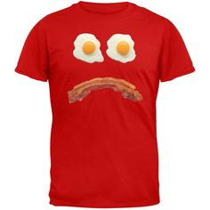 Mr. Sad Face Bacon And Eggs Red Adult T-Shirt