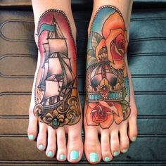 Gorgeous colors and neo traditional design in this tattoo by Eilo Martin, Canada.