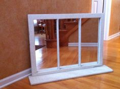 Vintage Shabby Chic Upcycled 3 Pane Window Turned Mirror  $149.00