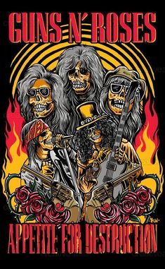For everything Guns n Roses check out Iomoio Rock Band Posters, Rock Band Logos, Guns N Roses, Rock Vintage, Vintage Music Posters, Band Wallpapers, Rose Art, Cool Bands, Poster Prints