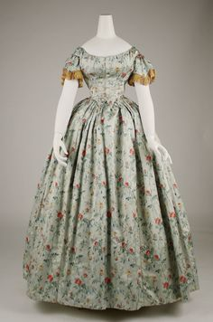 Evening Dress: ca. 1850's, French, silk, fringe.