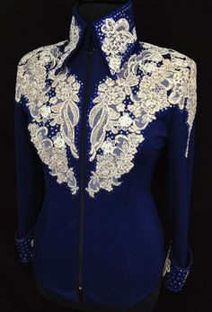Note to self - you like the lace application and the color Navy Ivory ~ Showmanship Outfit – Just Peachy Cowgirl Outfits, Western Outfits, Western Wear, Western Show Shirts, Western Show Clothes, Horse Riding Clothes, Horse Show Clothes, Equestrian Outfit, Chemises Country