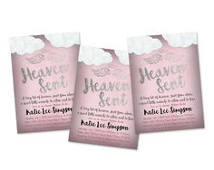 Get the rose pink rustic style Heaven Sent Baby Shower Invitations you've been looking for, for your little girl is on the way baby shower!