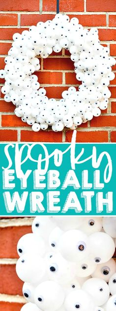 Creative Ways To Serve Appetizers Create a fun and spooky Eyeball Wreath for your DIY Halloween decor! Made with inexpensive products and a lot of hot glue, it's an easy Halloween Wreath your trick or treaters will love! Diy Halloween Eyeballs, Halloween Witch Wreath, Halloween Mesh Wreaths, Diy Halloween Decorations, Easy Halloween, Halloween Crafts, Fall Decorations, Painting Burlap, Dollar Store Halloween