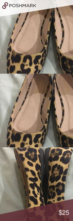 Leopard flats Adorable faux suede leopard flats. Bought them on Amazon, only worn once. Really cute and so versatile- I just don't have the opportunity to wear them! Hoping someone else can love them :) Shoes Flats & Loafers