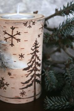 Winter Joy and Christmas Cheer Christmas Log, Woodland Christmas, Christmas Candles, Country Christmas, All Things Christmas, Vintage Christmas, Christmas Crafts, Coastal Christmas, Tea Light Holder