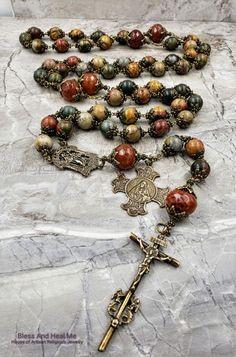 Praying The Rosary, Rosary Catholic, Holy Rosary, Jesus Mary And Joseph, St Joseph, Heart Of Jesus, Ceramic Beads, Sacred Heart, Jasper