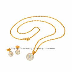 stainless steel white color crystal ball design sets with earring and necklace in gold color for women-SSNEG051296