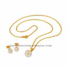 juego con collar y aretes de cristal perla dorado en acero inoxidable-SSNEG051296