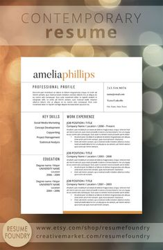 modern resume template the amelia - Template Resume Word
