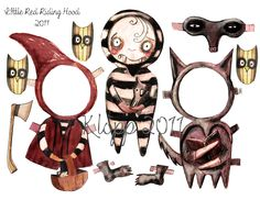 Red Riding Hood Goth Paper Dolls