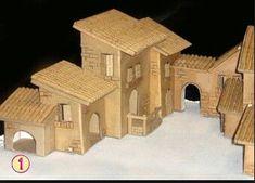 Box Houses, Putz Houses, Paper Houses, Fairy Houses, Christmas Nativity Scene, Christmas Villages, Christmas Crib Ideas, Christmas Crafts, Paper Origami Flowers