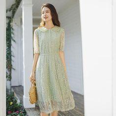 Korean Fashion Dress, Korean Dress, Fashion Dresses, High Collar Dress, Peter Pan Collar Dress, Cute Dresses, Casual Dresses, Lace Dress Styles, Anime Princess