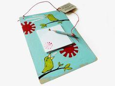 Ablagen - Upcycling Notizzettelhalterung Vögel, handgemalt - ein Designerstück von Kirschblueten-Tsunami bei DaWanda
