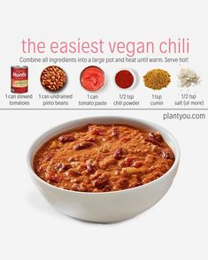 Fitness Easy vegan chili has to be one of my favorite fall/winter meals!   Packed with plantbased protein – Fitness Fitness Easy vegan chili has to be one of my favorite fall/winter meals!   Packed with plantbased protein – Fitness Vegan Lunches, Vegan Foods, Vegan Dishes, Vegan Recipes Plant Based, Vegetarian Recipes, Healthy Recipes, Easy Recipes, Vegan Recipes Beginner, Plant Based Snacks