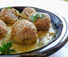 Pulpeciki z kaszy gryczanej nadziewane kozim serem w sosie grzybowo-dyniowym | Oryginalny smak Food And Drink, Meat, Chicken, Ethnic Recipes, Cubs