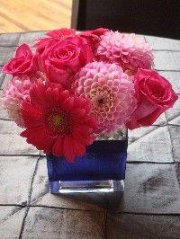 Pretty Flowers - Dahlia, Daisy, dark pink roses