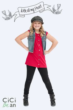 CiCI Bean's With All My Heart Collection - clothing for tween girls.   Shop online at www.peekaboobeans.com
