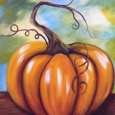 Fall pumpkin by Tricia Sutton Pumpkin Canvas Painting, Autumn Painting, Autumn Art, Canvas Art, Fall Paintings, Canvas Paintings, Art Halloween, Halloween Painting, Canvas Painting Tutorials
