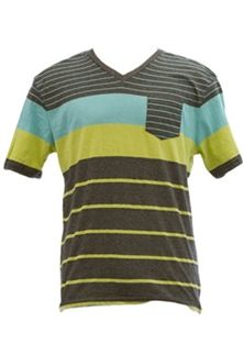 1897 Stripe V-Neck T-Shirt with Stripe Pocket for Men KV33003M