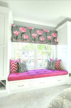Window-seat Ideas. Great Kids Window-seat idea! #WindowSeat Luxury Interior Design, Home Design, Design Ideas, Design Styles, Design Color, Trendy Bedroom, Girls Bedroom, Childs Bedroom, Bedroom Beach